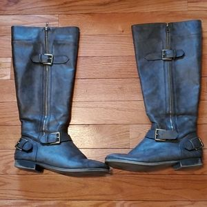 Womens size 11 leather  brown grey knee high boots